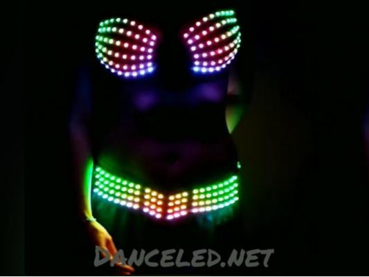 Светодиодный пиксельный костюм, лиф + пояс.
